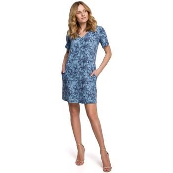 tekstylia Damskie Sukienki krótkie Makover K052 Sukienka shiftowa z nadrukiem - model 1