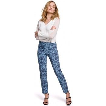 tekstylia Damskie Chinos Makover K053 Spodnie z wąskimi nogawkami z nadrukiem - model 1