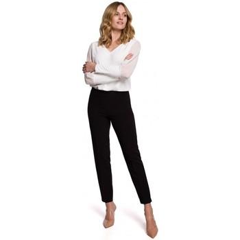 tekstylia Damskie Chinos Makover K055 Spodnie z wąskimi nogawkami - czarne