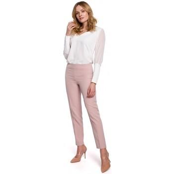 tekstylia Damskie Chinos Makover K055 Spodnie z wąską nogawką - krepa różowa