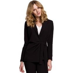 tekstylia Damskie Marynarki Makover K056 Marynarka z wiązanym paskiem - czarna