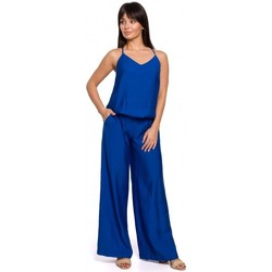 tekstylia Damskie Kombinezony / Ogrodniczki Be B155 Wide leg jumpsuit - royal blue