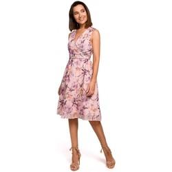 tekstylia Damskie Sukienki krótkie Style S225 Szyfonowa sukienka z dekoltem w szpic - model 3