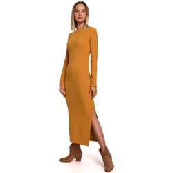 tekstylia Damskie Sukienki długie Moe M544 Sukienka maxi z rozcięciem na nogi - ciemnożółta