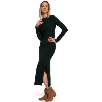 tekstylia Damskie Sukienki długie Moe M544 Sukienka maxi z rozcięciem na nogi - zielona