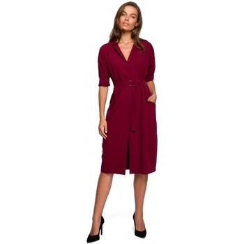 tekstylia Damskie Sukienki krótkie Style S230 Sukienka koszulowa midi z naszywanymi kieszeniami - bordo