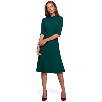 tekstylia Damskie Sukienki krótkie Style S231 Sukienka z kołnierzykiem i paskiem z klamrą - zielona