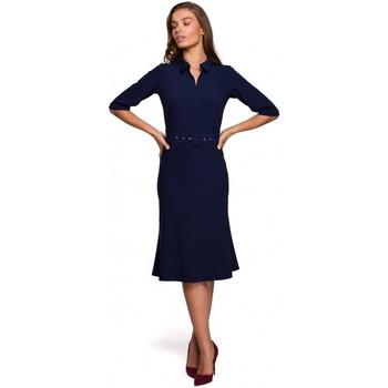 tekstylia Damskie Sukienki krótkie Style S231 Sukienka z kołnierzykiem i paskiem z klamrą - granatowa
