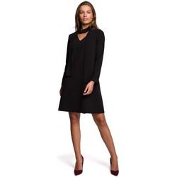 tekstylia Damskie Sukienki krótkie Style S233 Shift dress with a chiffon scarf - black