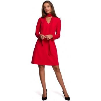 tekstylia Damskie Sukienki krótkie Style S233 Shift dress with a chiffon scarf - red