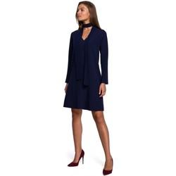 tekstylia Damskie Sukienki krótkie Style S233 Shift dress with a chiffon scarf - navy blue