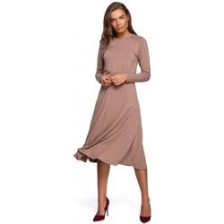 tekstylia Damskie Sukienki długie Style S234 Sukienka dopasowana i rozkloszowana - cappuccino