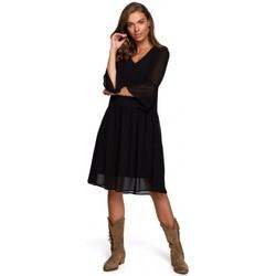 tekstylia Damskie Sukienki krótkie Style S236 Granatowa sukienka z gładkiego szyfonu