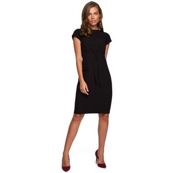 tekstylia Damskie Sukienki krótkie Style S239 Ołówkowa sukienka z wiązanym paskiem - zielona