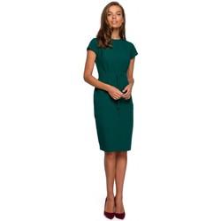 tekstylia Damskie Sukienki krótkie Style S239 Ołówkowa sukienka z wiązanym paskiem - granatowa
