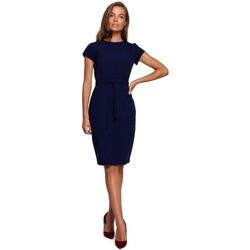 tekstylia Damskie Sukienki krótkie Style S239 Sukienka ołówkowa z wiązanym paskiem - czerwona