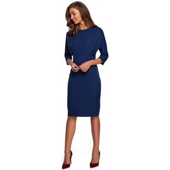 tekstylia Damskie Sukienki krótkie Style S242 Sukienka z rękawem typu bat - granatowy