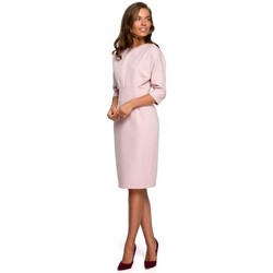 tekstylia Damskie Sukienki krótkie Style S242 Sukienka z rękawem typu bat - pudrowy
