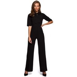 tekstylia Damskie Kombinezony / Ogrodniczki Style S243 Elegancki kombinezon z wiązanym dekoltem - czarny