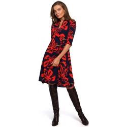 tekstylia Damskie Sukienki krótkie Style S247 Wrap fit and flare sukienka z nadrukiem - model 1