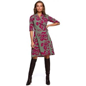 tekstylia Damskie Sukienki krótkie Style S247 Wrap fit and flare dress with print - model 2