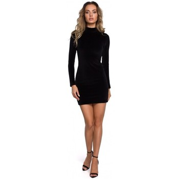 tekstylia Damskie Sukienki krótkie Moe M558 Velvet Turtleneck Mini Dress - czarny