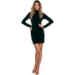 tekstylia Damskie Sukienki krótkie Moe M558 Velvet Turtleneck Mini Dress - zielony
