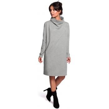 tekstylia Damskie Sukienki krótkie Be B132 Sukienka z wysokim kołnierzem - szara