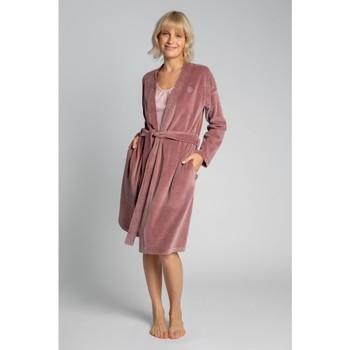 tekstylia Damskie Piżama / koszula nocna Lalupa LA009 Aksamitny szlafrok z wiązanym paskiem - krepa różowa