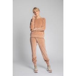 tekstylia Damskie Swetry Lalupa LA011 Velvet Reglan Sleeve Pullover Top - beżowy