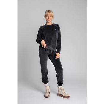 tekstylia Damskie Bluzy Lalupa LA011 Velvet Reglan Sleeve Pullover Top - grafitowy
