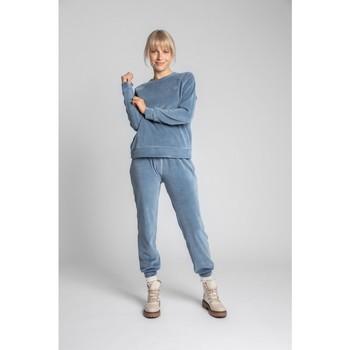 tekstylia Damskie Bluzy Lalupa LA011 Velvet Reglan Sleeve Pullover Top - niebieski