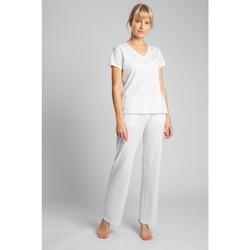tekstylia Damskie T-shirty z krótkim rękawem Lalupa LA014 Bawełniana bluzka z dekoltem w kształcie litery V - ecru
