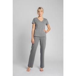 tekstylia Damskie T-shirty z krótkim rękawem Lalupa LA014 Bawełniany top z dekoltem w kształcie litery V - szary
