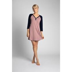 tekstylia Damskie Sukienki krótkie Lalupa LA018 Cotton Colourblock Sleepshirt - granatowy