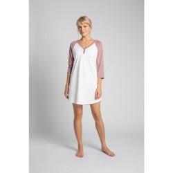 tekstylia Damskie Piżama / koszula nocna Lalupa LA018 Cotton Colourblock Sleepshirt - brzoskwiniowy