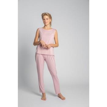 tekstylia Damskie Topy / Bluzki Lalupa LA022 Wiskozowy top bez rękawów z kieszenią na piersi - różowy