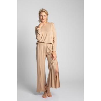 tekstylia Damskie Piżama / koszula nocna Lalupa LA026 Spodnie z wiskozy z wysokim stanem - cappuccino