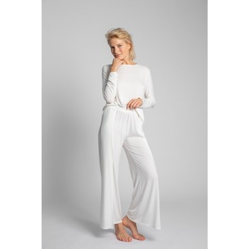 tekstylia Damskie Piżama / koszula nocna Lalupa LA026 Spodnie z wiskozy z wysokim stanem - ecru