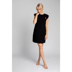 tekstylia Damskie Sukienki krótkie Lalupa LA033 Sukienka z prążkowanej bawełny - czarna