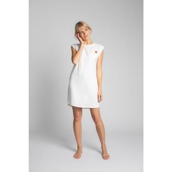 tekstylia Damskie Sukienki krótkie Lalupa LA033 bawełniana sukienka z prążkowanego materiału - ecru