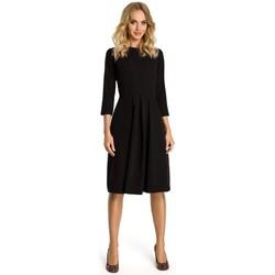 tekstylia Damskie Sukienki krótkie Moe M335 Dress with box pleat in front - black