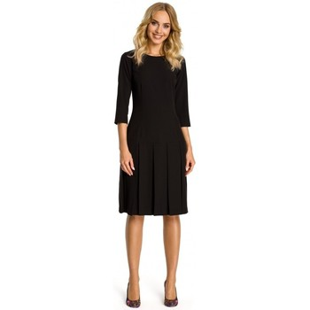 tekstylia Damskie Sukienki krótkie Moe M336 Drop waist dress with pleats - black
