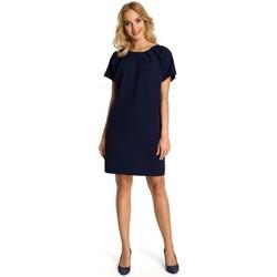 tekstylia Damskie Sukienki krótkie Moe M337 Shift dress with pleats - navy blue