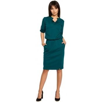 tekstylia Damskie Sukienki krótkie Be B056 Sukienka dzianinowa w stylu koszulowym - zielona