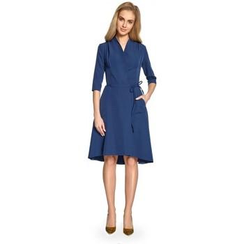 tekstylia Damskie Sukienki krótkie Style S099 Sukienka z asymetrycznymi brzegami - granatowy