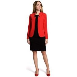 tekstylia Damskie Marynarki Moe M358 Classic blazer with a stand up collar - red