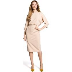tekstylia Damskie Sukienki krótkie Moe M360 Sukienka o średniej długości z luźną górą - beżowa