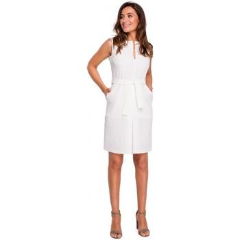 tekstylia Damskie Sukienki krótkie Style S158 Sheath sukienka bez rękawów z plisą z przodu - ecru