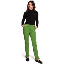 tekstylia Damskie Spodnie Be B124 Spodnie jogger z rozcięciami - limonkowe